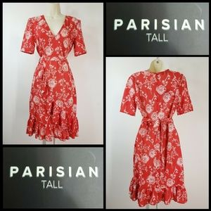 Parisian Woman Short Sleeve Floral Ruffle Dress 6